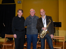 Garth with Andrew Stewart and Jeremy Koch at An die Musik, November 7, 2014 before their performance of my work Des Larmes Encadrees for saxophone and piano.