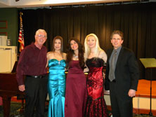 Garth Baxter with OperaBelle (Katherine Keem, Angela knight and Anna Korsakova) and pianist Andrew Stewart after the OperaBelle Fall Concert at Edenwald, Towson, Maryland Friday, September 26, 2014.